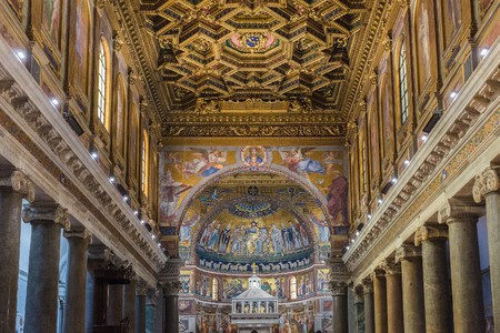 Rome, Italy – March 27, 2018: Interior of Basilica of Santa Maria in Trastevere, one of the oldest churches of Rome