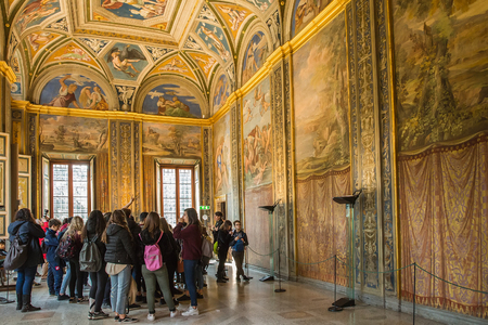 Rome, Italy – March 27, 2018: Interior of Renaissance Villa Farnesina, monument of architecture and painting of the High Renaissance