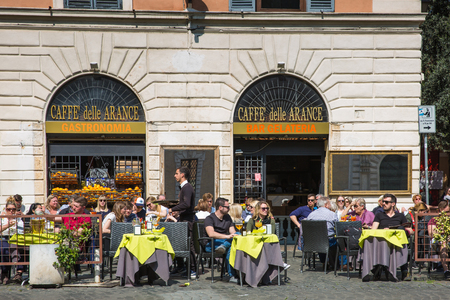 Rome, Italy – March 27, 2018: Outdoor cafe in the center of Rome
