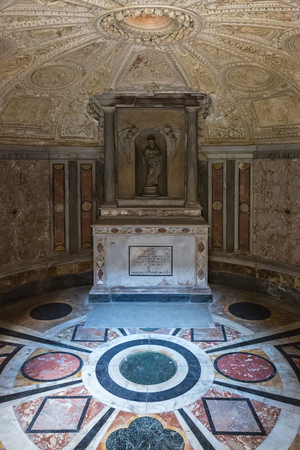 Rome, Italy – March 27, 2018: Interior of Tempietto built by Donato Bramante. It is a masterpiece of High Renaissance Italian architecture.