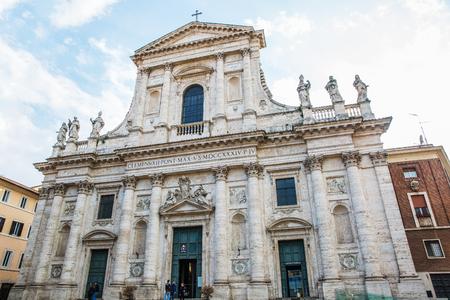 Rome, Italy – March 27, 2018:  Facade of Basilica San Giovanni dei Fiorentini