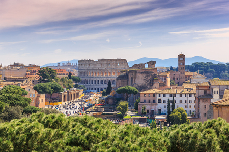 View of the center of Rome from the top, the Colosseum and other ancient, Italy