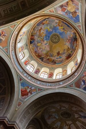 Eger, Hungary - March 07, 2019: Dome in St. John basilica