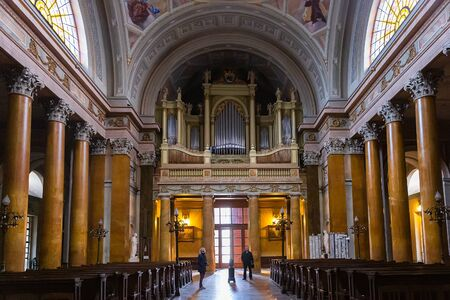 Eger, Hungary - March 07, 2019:  Interior of St. John basilica
