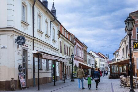 Eger, Hungary - March 07, 2019: Street with restaurants and shops in the center of Eger Standard-Bild - 137610229