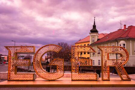 Eger, Hungary - March 07, 2019: Luminous inscription
