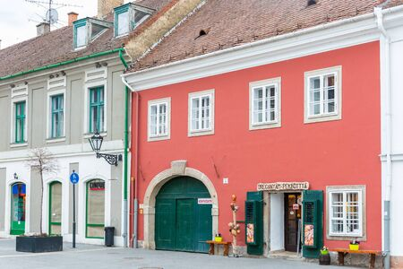 Eger, Hungary - March 07, 2019: Street with restaurants and shops in the center of Eger Standard-Bild - 137610233