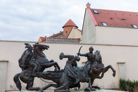 Eger, Hungary - March 07, 2019: Memorial in the city center of Eger visualise the Battle of Mohacs when the Turkish Empire invaded Hungary in 1533