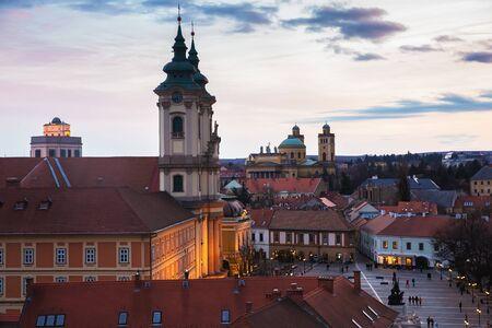 Sunset of Eger city, Hungary from above Standard-Bild - 137610240