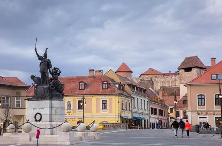 Eger, Hungary - March 07, 2019: Square in the city center of Eger Editorial