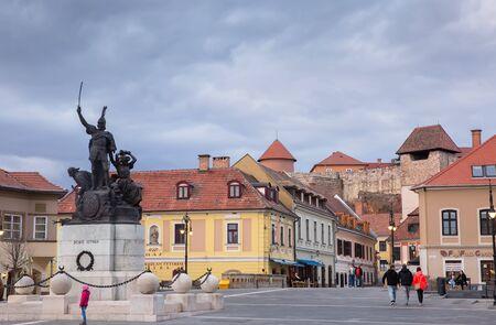Eger, Hungary - March 07, 2019: Square in the city center of Eger Standard-Bild - 137610245