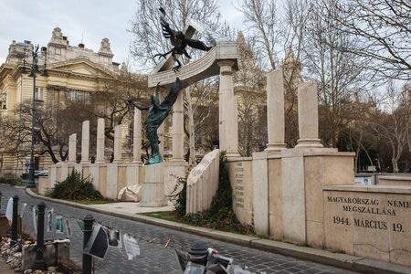 Budapest, Hungary - March 07, 2019:  Memorial to the Victims of the German Invasion Standard-Bild - 137610257