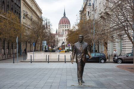 Budapest, Hungary - March 07, 2019:  Ronald Reagan Statue in the center of Budapest Editorial