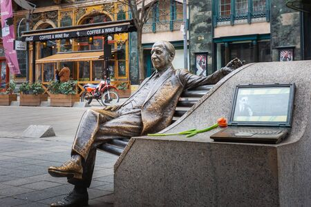 Budapest, - March 08, 2019: Sculpture of composer Imre Kalman in front of the Operetta Theater