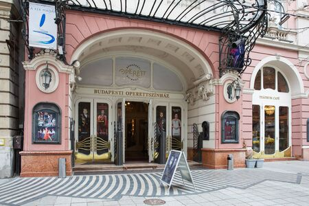 Budapest, Hungary - March 08, 2019: Main entrance to the famous Operetta Theater in Budapest