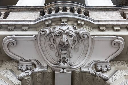 Stucco detail on a house in the center of Budapest, Hungary Standard-Bild - 137610266