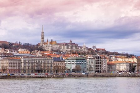 Budapest, view of Buda side with the Buda Castle, St. Matthias and Fishermen's Bastion Editorial