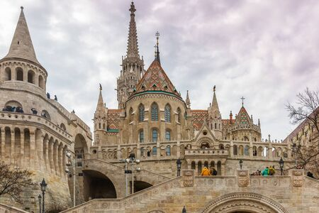 Budapest, Hungary - March 08, 2019: The church of our Lady of Buda Castle (Matthias Church) in the Fisherman's Bastion Standard-Bild - 137610278