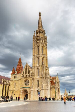 Budapest, Hungary - March 08, 2019: The church of our Lady of Buda Castle (Matthias Church) in the Fisherman's Bastion Standard-Bild - 137610284