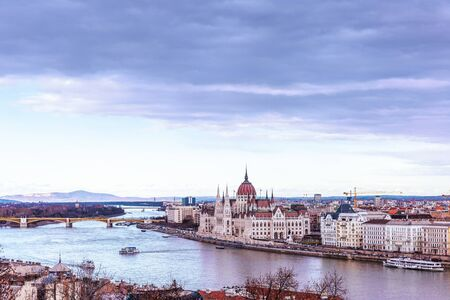 Landscape view of Budapest city  with the Hungarian parliament building at Danube river, Hungary.