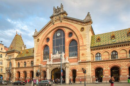 Budapest, Hungary - March 08, 2019:  The Great Market Hall or Central Market Hall  is the largest and oldest indoor market in Budapest