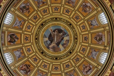 Budapest, Hungary - March 07, 2019: Dome of St. Istvan (St. Stephen's) Basilica