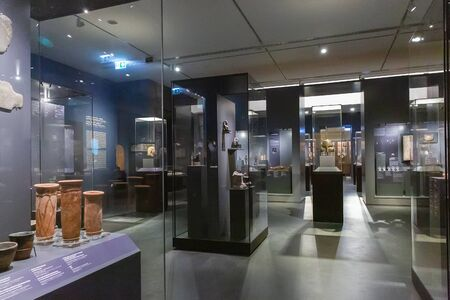 Budapest, Hungary - March 10, 2019: Interior of the Museum of Fine Arts, Exhibition of ancient Egypt