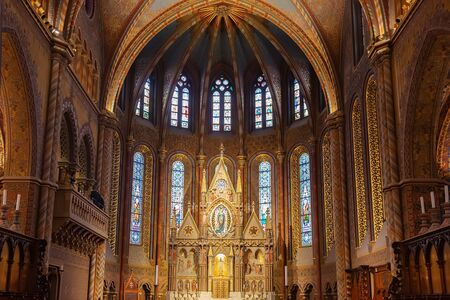 Budapest, Hungary - March 08, 2019: Interior of church of our Lady of Buda Castle (Matthias Church) in the Fisherman's Bastion