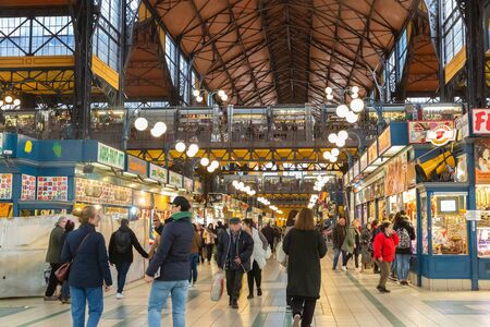Budapest, Hungary - March 08, 2019:  Overview of the Great Market Hall inside, it is Central Market Hall   -  the largest and oldest indoor market in Budapest Editorial