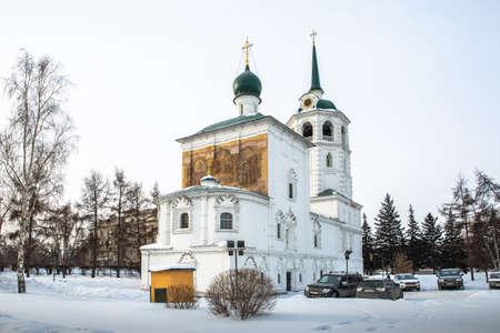 Russia, Irkutsk, - February 21, 2021: Church of Our Savior (Spasskaya Church) was built in 1706-1710 in Irkutsk Editorial