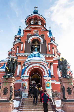 Russia, Irkutsk - February 21, 2021: Church of Our Lady of Kazan, the orthodox church in Irkutsk Editorial
