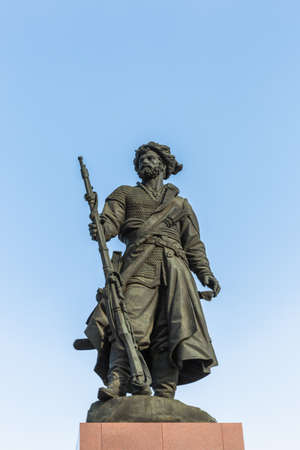 Russia, - February21, 2021: Monument to the Founders of Irkutsk on the banks of the Angara River