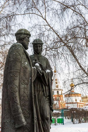 Russia, Irkutsk - February 21, 2021: Monument to Peter and Fevronia of Murom, Square of Spasskaya Church Editorial