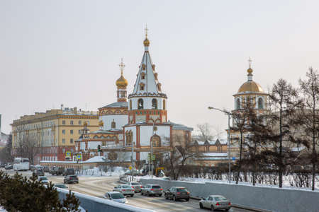 Russia, Irkutsk - February 21, 2021: View of the Cathedral of the Epiphany (1718 year of Foundation) in Irkutsk Editorial
