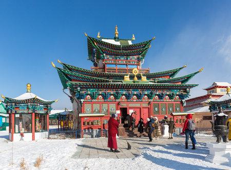 Russia, Ulan-Ude - February 27, 2021: Ivolginsky Buddhist datsan monastery near Ulan-Ude city in Buryatia Editorial