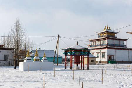 Ivolginsky Buddhist datsan monastery near Ulan-Ude city in Buryatia, Russia. Standard-Bild