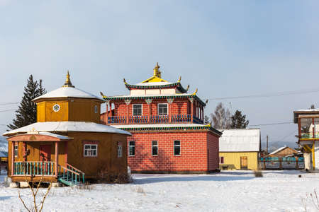 Russia, Irkutsk - February 27, 2021: Ivolginsky Buddhist datsan monastery near Ulan-Ude city in Buryatia, Russia. Editorial