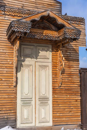 Old wooden houses with carvings of Ulan-Ude, Russia