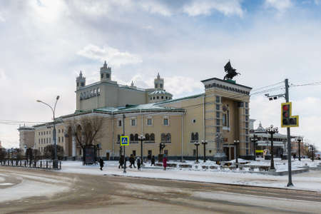 Russia, Ulan-Ude - February 27, 2021: Theater building in the center of Ulan-Ude