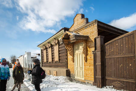 Russia, Ulan-Ude - February 27, 2021: Old wooden houses with carvings of Ulan-Ude