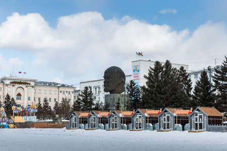 Russia, Ulan-Ude - February 27, 2021: Monument to Vladimir Lenin located in the center of Ulan-Ude, the largest head monument Editorial