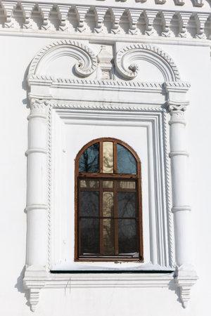 Windows on the facade of Znamensky Monastery (also the Monastery in the Name of the Sign of the Mother of God), 1689 year of Foundation. Irkutsk, Russia