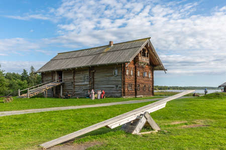 Kizhi Island, Russia - August 20, 2020: Wooden architecture of Kizhi Pogost Editorial