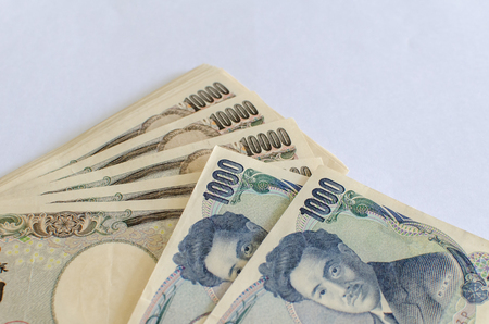 yen note: Japanese currency note, Japanese yen, selective focus Stock Photo