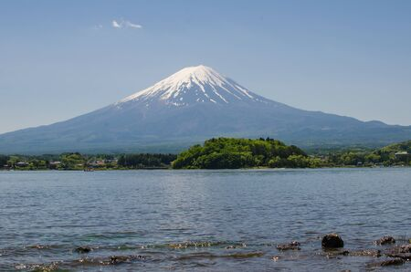 fuji san: Mount Fuji (Fuji san) in spring at Kawaguchiko lake, Japan