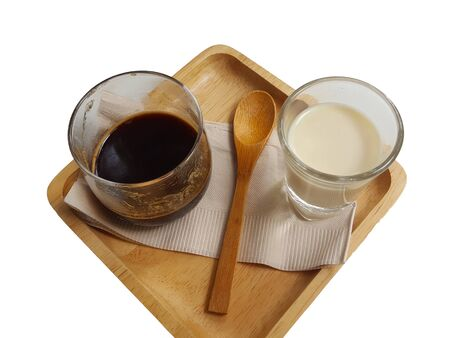Coffee jelly eating with milk on white background