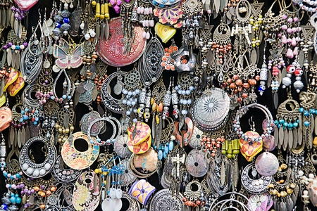 handicrafts: earrings on a market stall Stock Photo