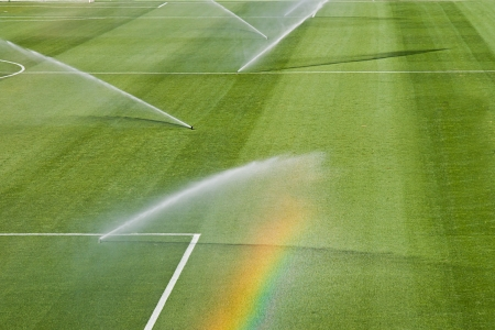 malaga: irrigation turf of Rosaleda stadium, Malaga, Spain Stock Photo