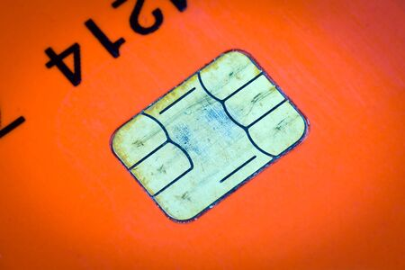 Credit card chip close up photo