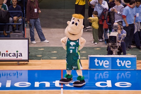 MALAGA, SPAIN - NOVEMBER 11: Chicui, mascot of ACB´s Unicaja Malaga during a game at Palacio de los Deportes on November 11, 2008 in Malaga, Spain